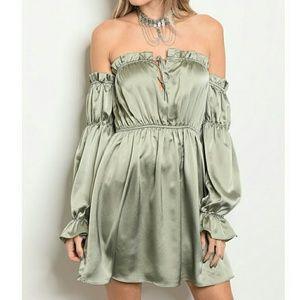 Dresses & Skirts - Olive Blouson Shoulder Cocktail Dress